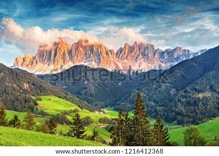 Famous alpine place of the world, Santa Maddalena village with magical Dolomites mountains in background, Val di Funes valley, Trentino Alto Adige region, Italy, Europe #1216412368