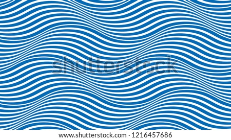 Water waves seamless pattern, vector curve lines abstract repeat tiling background, blue colored rhythmic waves. Royalty-Free Stock Photo #1216457686