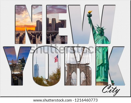 A New York City themed montage or collage (featuring different famous locations) #1216460773