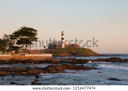 Late afternoon at Barra Lighthouse in Salvador Bahia Brazil #1216477474