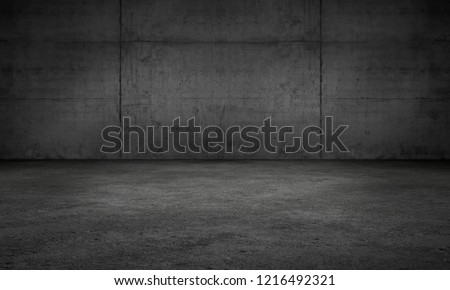 Dark Wall Concrete Garage Room Modern Background Scene with Floor #1216492321