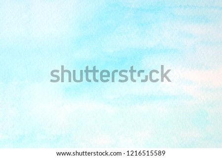 Blue watercolor background, Sky in watercolour painting soft textured on wet white paper background, Abstract blue watercolor illustration banner, wallpaper #1216515589