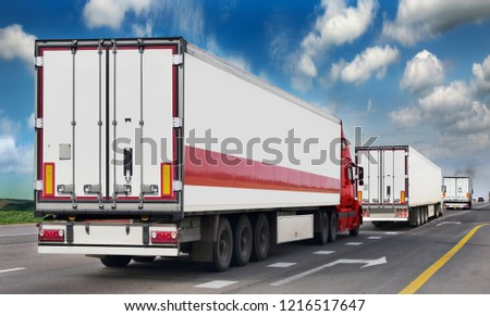 Container on the big highway. transport loads. Heavy traffic freight trailers on the highway. Cargo transportation #1216517647
