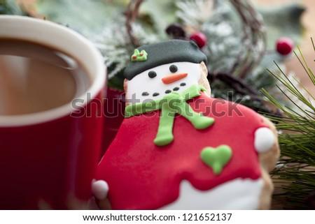 Coffee and Santa cookies on a breakfast
