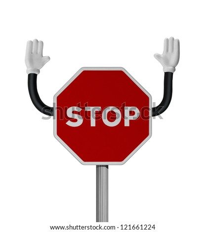 Traffic STOP sign with hands over white background Royalty-Free Stock Photo #121661224