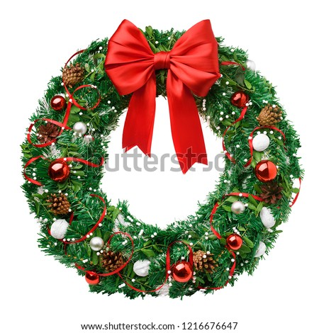 christmas wreath, red ribbon bow, isolated on white background, clipping path #1216676647