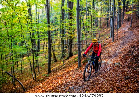 Cycling, mountain bikeing woman on cycle trail in autumn forest. Mountain biking in autumn landscape forest. Woman cycling MTB flow uphill trail. #1216679287