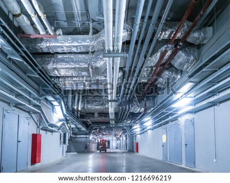 Laying of engineering networks. Ventilation pipes. Air conditioning of buildings. Pipe installation. Technical floor. Maintenance of cable networks. #1216696219