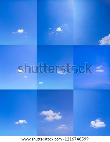 blue sky background with tiny clouds #1216748599