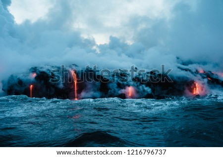 lava poring into water #1216796737