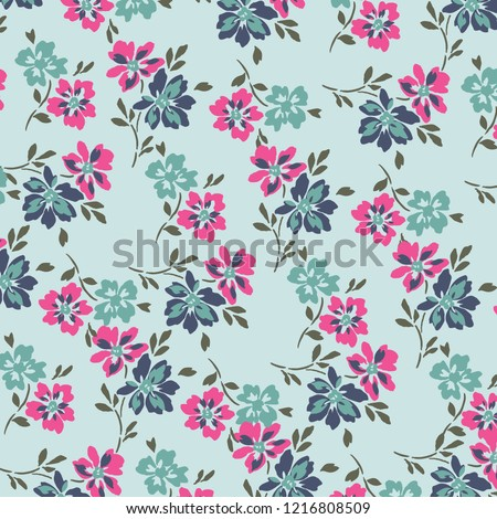 Vector illustration of a beautiful floral bouquet.  watercolor floral pattern, Ditsy floral background. Liberty style. fabric, covers, manufacturing, wallpapers, print, gift wrap.  #1216808509