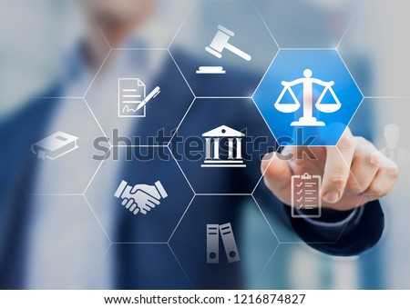 Legal advice service concept with lawyer working for justice, law, business legislation, and paperwork expert consulting, icons with person in background #1216874827