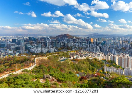 Autumn of Seoul downtown and Seoul tower in Seoul, South Korea.Viewpoint from Inwangsan mountain. #1216877281