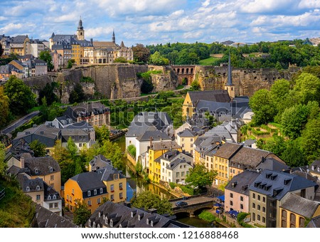 Luxembourg city, the capital of Grand Duchy of Luxembourg, view of the Old Town and Grund #1216888468