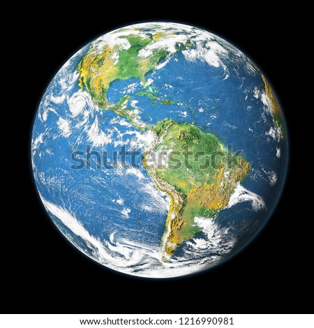 Earth globe isolated on black background. Elements of this image furnished by NASA Royalty-Free Stock Photo #1216990981