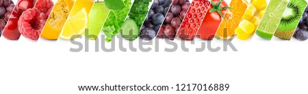 Mixed of color fruits and vegetables. Fresh ripe food #1217016889