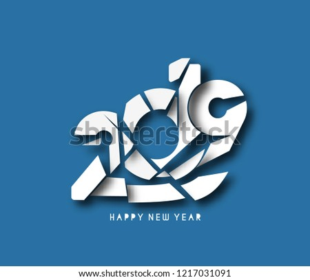 Happy New Year 2019 Text Design  Patter, Vector illustration. #1217031091