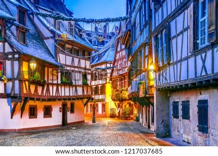Strasbourg, France. Christmas Market in Petite France old district of Strassburg in Alsace. #1217037685