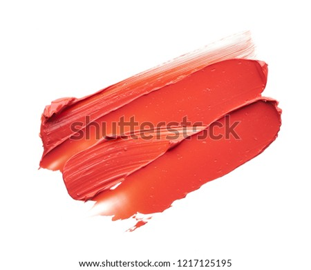 Smear and texture of red lipstick or acrylic paint isolated on white background. #1217125195