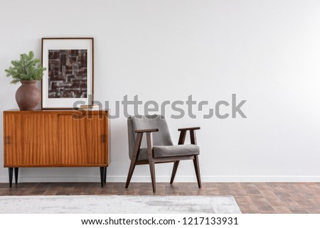 Vintage living room interior with retro furniture and poster on the cabinet, real photo with copy space on the white wall #1217133931