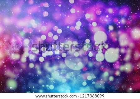 Festive Background With Natural Bokeh And Bright Golden Lights. Vintage Magic Background With Color  #1217368099