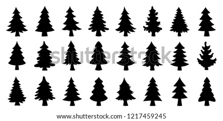 various christmas tree silhouette on the white background