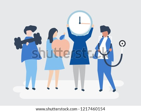 Characters of people holding healthy lifestyle icons illustration #1217460154