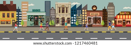 Shop-lot people walk road bakery and haircut and books cafe and coffee shop  Royalty-Free Stock Photo #1217460481