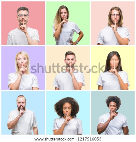 Collage of group people, women and men over colorful isolated background asking to be quiet with finger on lips. Silence and secret concept. #1217516053