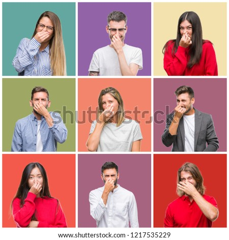 Collage of group people, women and men over colorful isolated background smelling something stinky and disgusting, intolerable smell, holding breath with fingers on nose. Bad smells concept. #1217535229