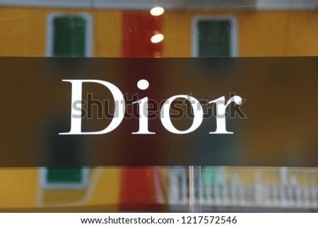 Milan, Italy october 31,2018 - Dior logo and shop  #1217572546