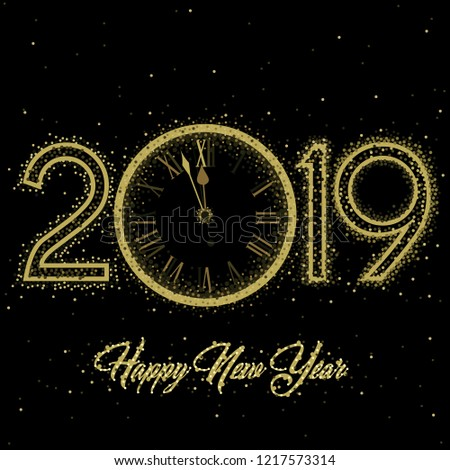 Gold clock with roman numerals on a circular ring disco clock with New Year numerals 2019 on a black background #1217573314