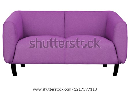 two-seat purple fabric sofa isolated on white background with clipping path. #1217597113