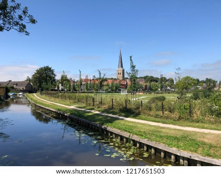 Canal with seeblatt in Tzum, Friesland The Netherlands #1217651503