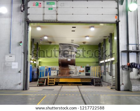 Elbląg, Poland - 25.06.2018: Productions of metal components in foundry - large-size castings #1217722588