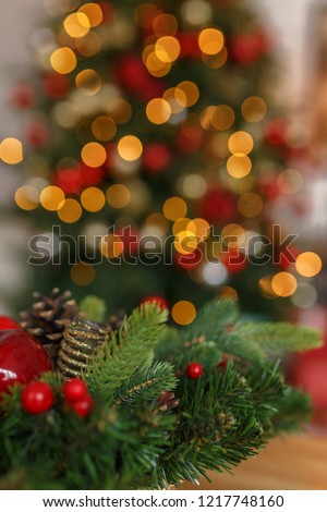 Abstract christmas background with christmas tree with decorations, defocused bokeh lights. #1217748160