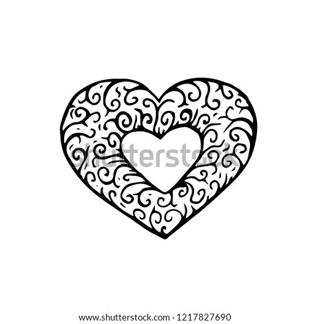 Doodle heart. Hand drawn vector illustration, Isolated on white background. #1217827690