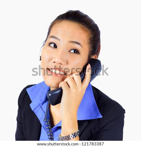 Isolated Young  Business woman on the telephone #121783387