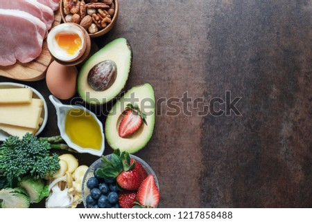 variety of ketogenic diet low carb healthy food, world food day Royalty-Free Stock Photo #1217858488