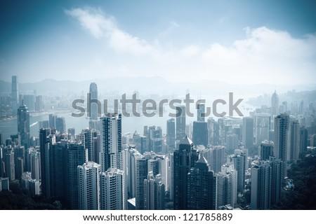 aerial view of beautiful hongkong at daytime in victoria peak #121785889
