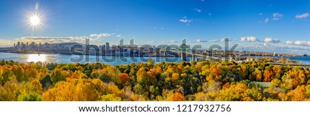 Panorama of Montreal, Quebec, Canada, and the Saint-Lawrence river in fall 2018. #1217932756