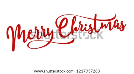 merry christmas red hand lettering inscription to winter holiday design, calligraphy vector illustration Royalty-Free Stock Photo #1217937283