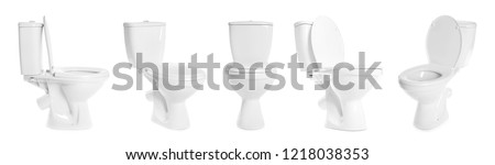 Set with toilet bowls on white background #1218038353