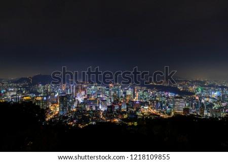 Seoul city skyline at Night, South Korea. #1218109855