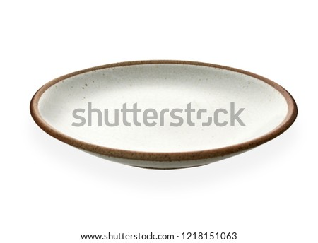 Empty ceramic plate with brown edge, White round plate isolated on white background with clipping path, Side view                                                                                        #1218151063