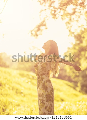 Day for relax. Beautiful young woman at nature. #1218188551