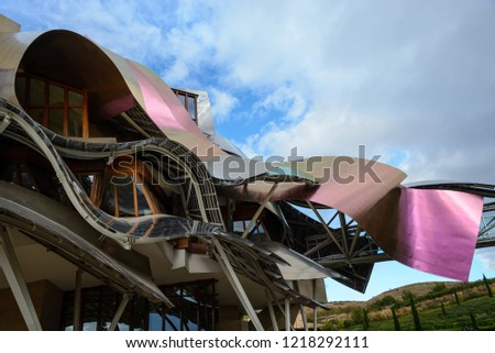 ELCIEGO, Alava / SPAIN ;SEP 10 2016 The modern hotel cellar of Marques de Riscal on September 10, 2016 in Elciego, Basque Country, Spain. This hotel, designed by Frank Gehry, was built in 2007.  #1218292111