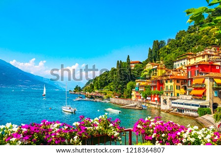 Varenna town in Como lake district. Italian traditional lake village. Italy, Europe. #1218364807