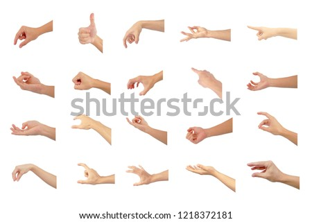 right hand collection multiple of Asian in gestures show are symbol isolated on white background #1218372181