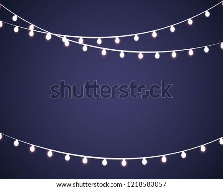 Colourful Glowing Christmas Lights. Vector illustration #1218583057